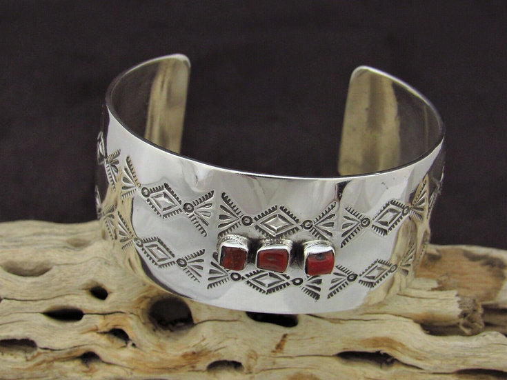 Wide Stamped Coral Sterling Silver Cuff Bracelet