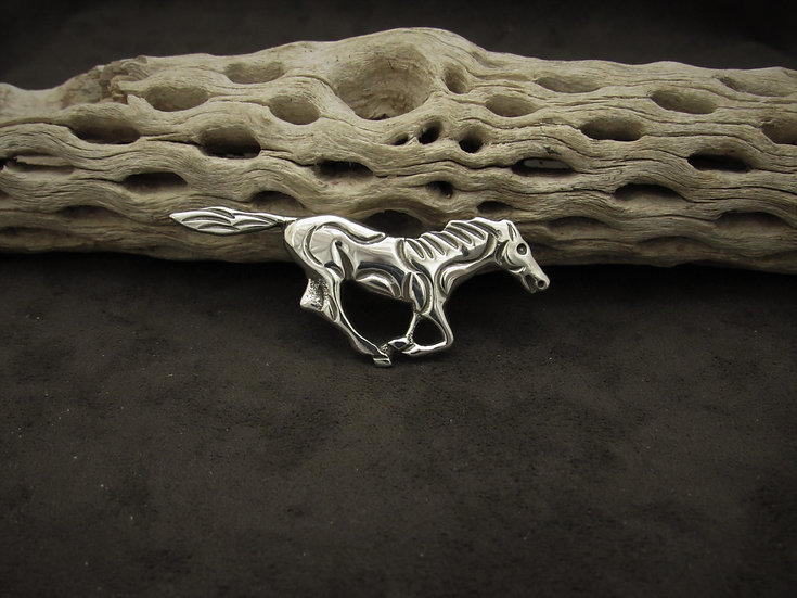 Sterling Silver Running Horse Pin