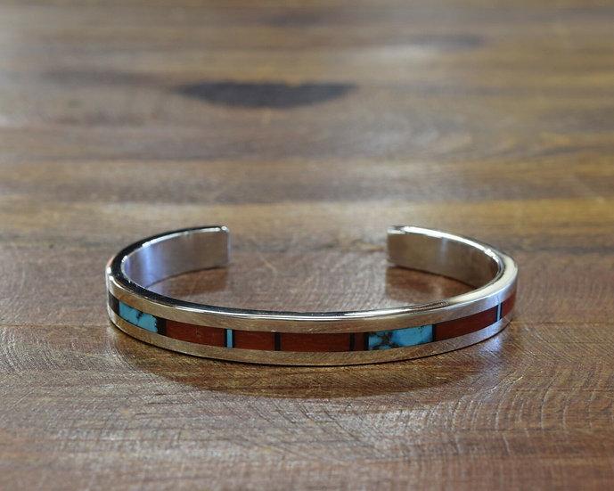 Sterling Silver Multi Stone Inlay Cuff Bracelet By Tim Yazzie