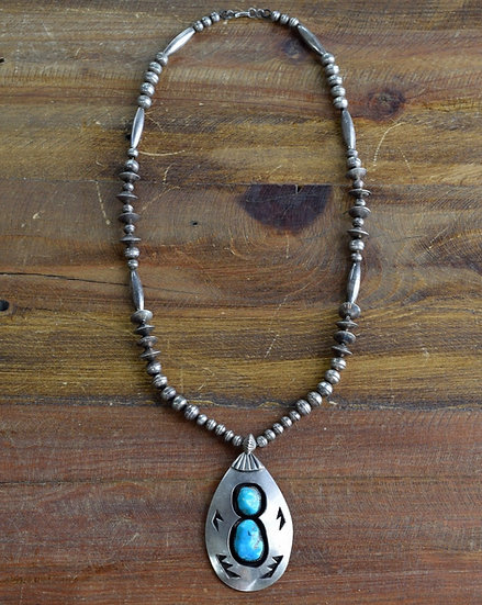 Vintage Navajo Turquoise Shadowbox Sterling Silver Necklace