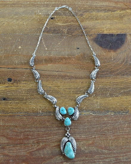 Vintage Navajo Sterling and Turquoise Necklace by Alice Platero