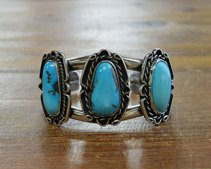 Vintage Three Stone Turquoise Sterling Silver Cuff Bracelet