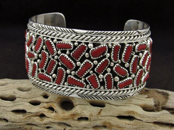 Large Sterling Silver Cluster Coral Cuff Bracelet
