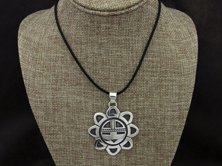 Hopi Sterling Silver Sunface Pendant on Black Chord