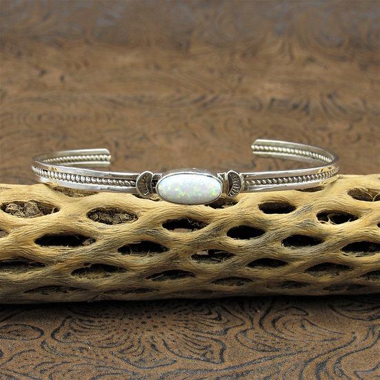 Southwestern Sterling Silver Lab Created Opal Cuff Bracelet