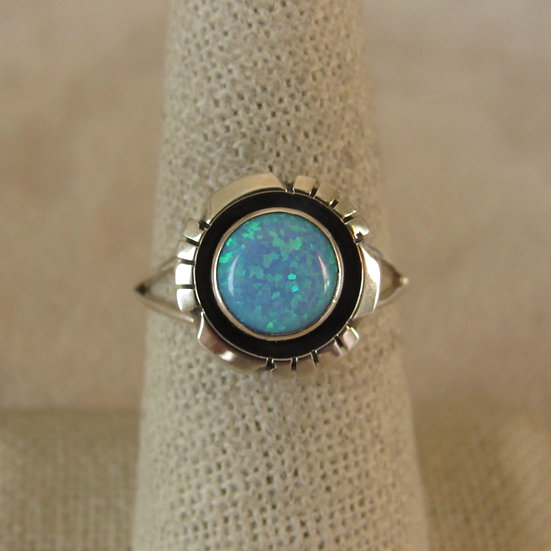 Southwest Sterling Silver and Lab Opal Ladies Ring Size 8.5