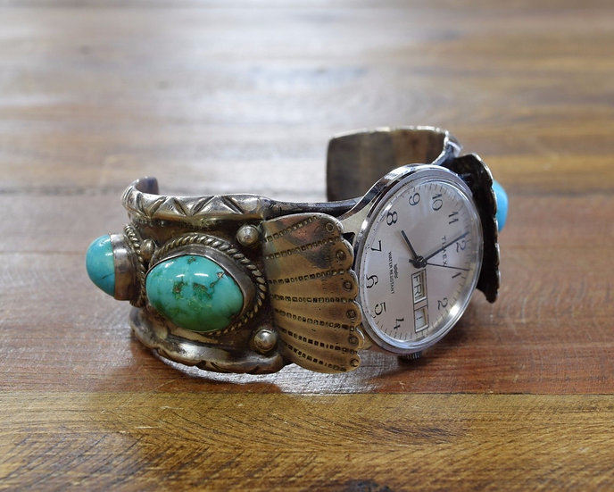 Vintage Navajo Sterling Silver And Turquoise Men's Watch Cuff Bracelet