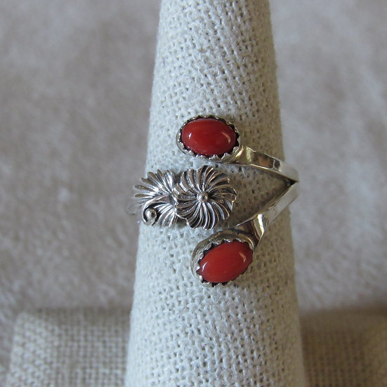 Sterling Silver and Coral Ladies Adjustable Ring By Etta Belin