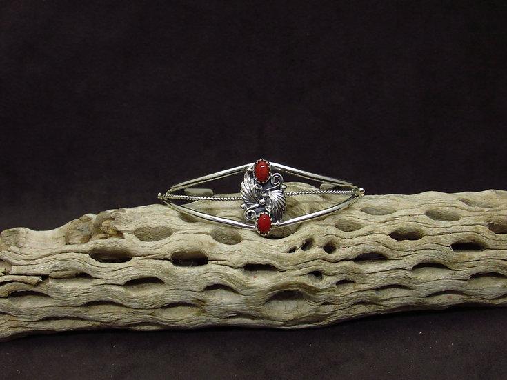 Petite Sterling Silver Coral Cuff Bracelet