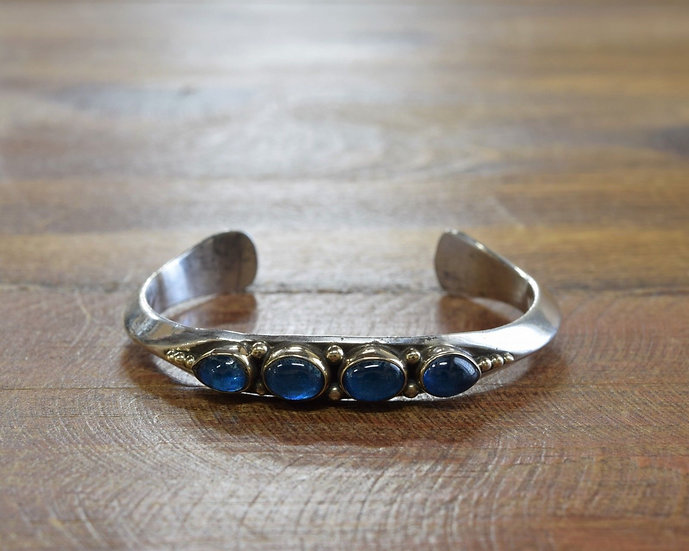 Navajo Sterling Silver and 14K Gold Blue Glass Cuff Bracelet by Paul Livingston