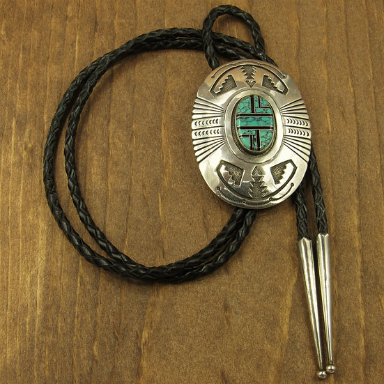 Roger A Lewis Navajo Inlaid Sterlilng Silver and Turquoise Bolo
