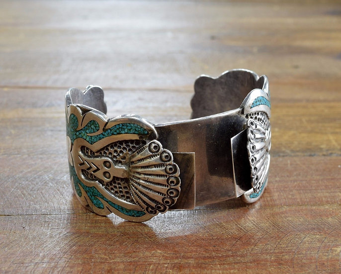 Southwest Sterling Silver Turquoise Chip Inlay Peyote Bird Watch Cuff