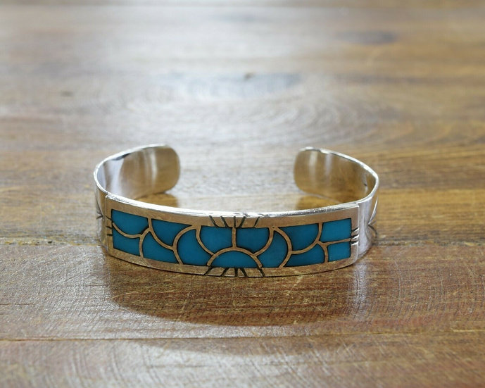 Vintage Southwestern Sterling Silver and Turquoise Inlay Bracelet