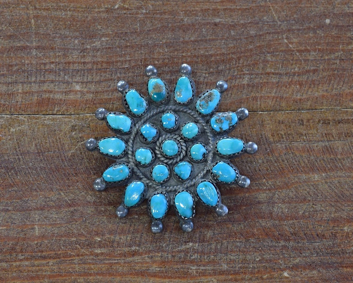 Southwest Sterling Silver and Turquoise Cluster Pin
