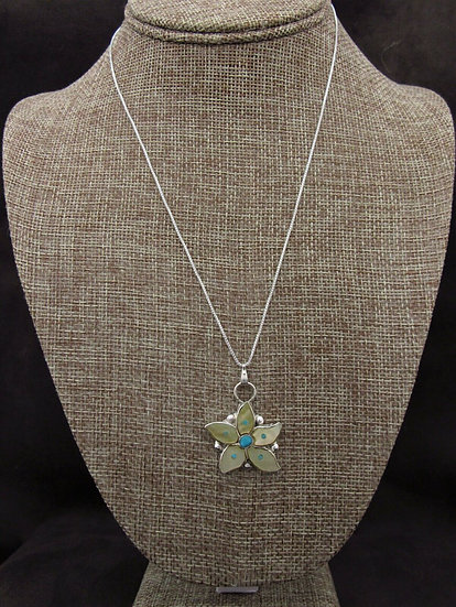 Yellow Lip Shell and Turquoise Flower Inlay Pendant with Chain