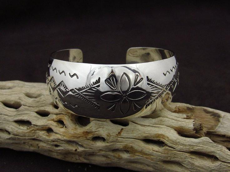Laguna Zuni Stamped Sterling Silver Cuff Bracelet
