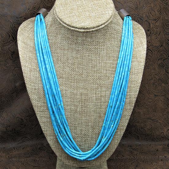 Beautiful Navajo Ten Strand Turquoise Beaded Necklace