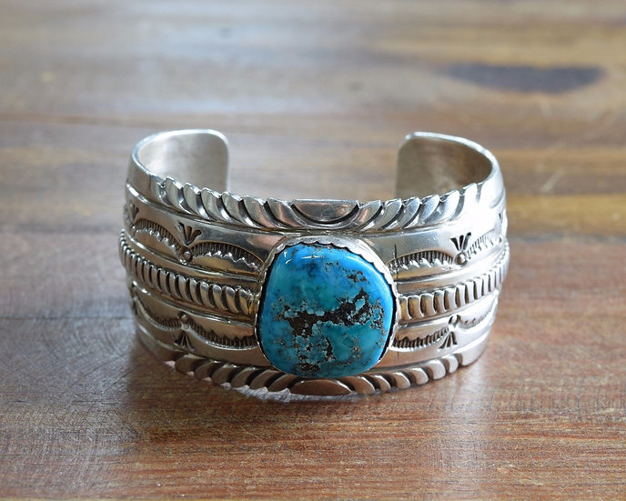 Vintage Navajo Sterling Silver And Turquoise Cuff Bracelet By H. Spencer