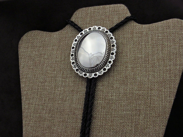 Large Sterling Silver Concho Bolo Tie