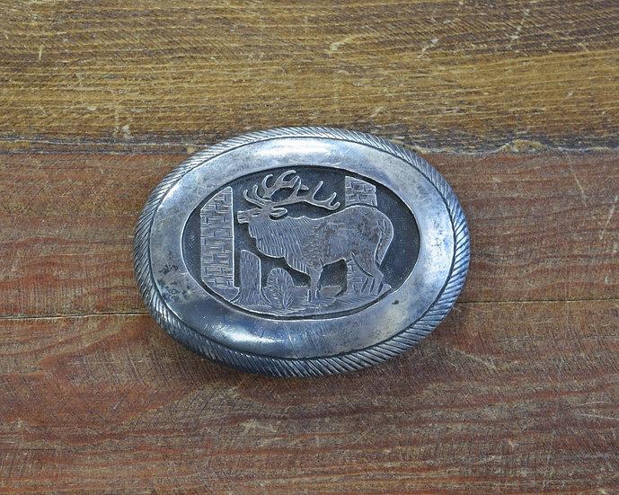 Navajo Sterling Silver Elk Belt Buckle