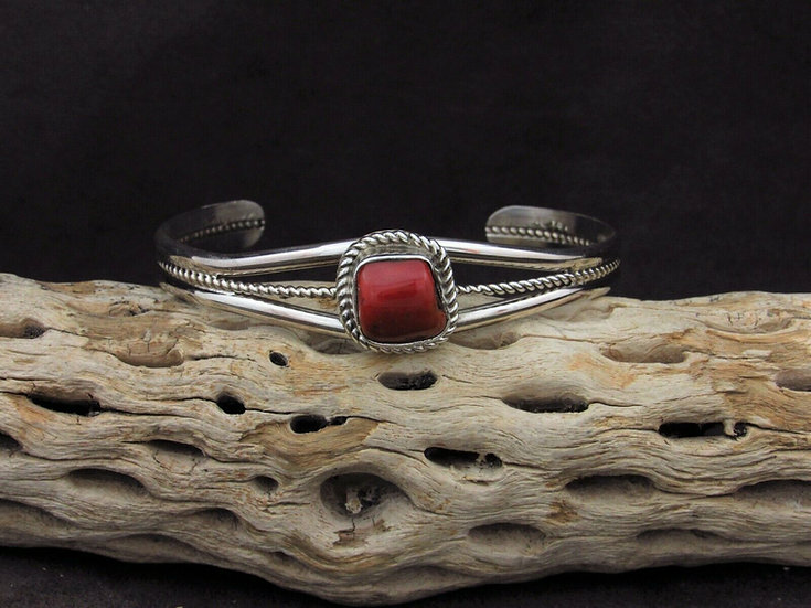 Coral Sterling Silver Cuff Bracelet