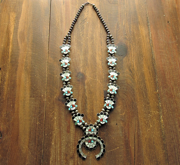 Vintage Zuni Inlay Sunface Squash Blossom Necklace