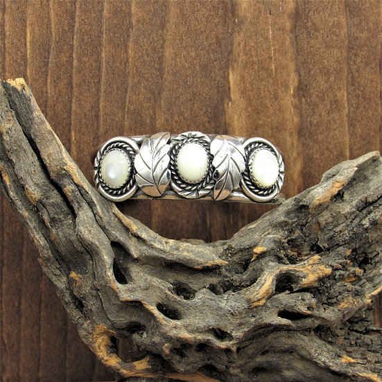 Navajo Sterling Silver and Mother of Pearl Cuff Bracelet by Albert Secatero