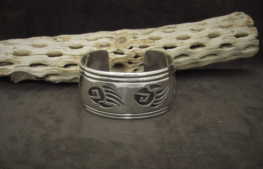 Sterling Silver Bear Paw Overlay Cuff Bracelet by Rosco Scott