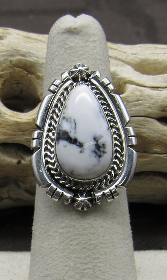 Stunning White Buffalo and Sterling Silver Ring Size 6 1/2