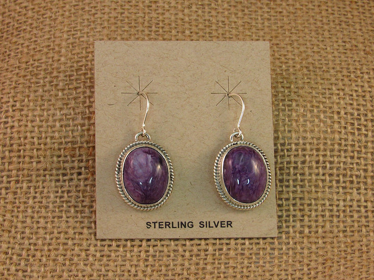 Navajo Charoite Sterling Silver Dangle Earrings