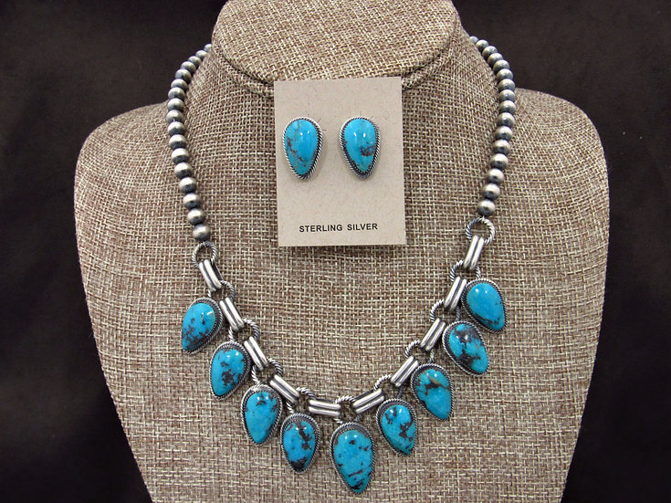 Navajo Matte Silver and Turquoise Necklace and Earrings Set by Bobby Platero