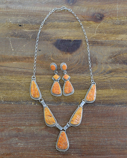 Vintage Spiny Oyster Sterling Silver Necklace and Earring Set