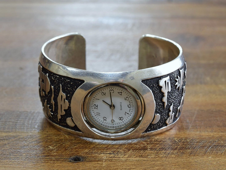 Vintage Navajo Story Teller Sterling Silver Watch Cuff Bracelet by A. Singer