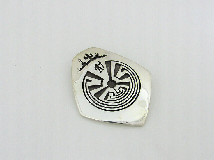Sterling Silver Overlay Man in the Maze Pendant by Rick Manuel