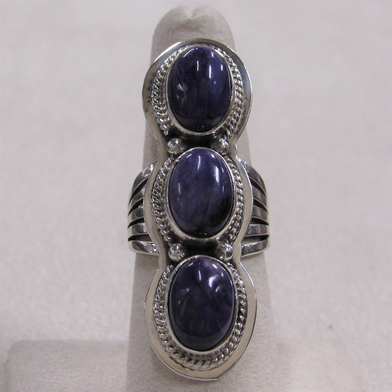 Sterling Silver and Charoite Statement Ring Size 7.25
