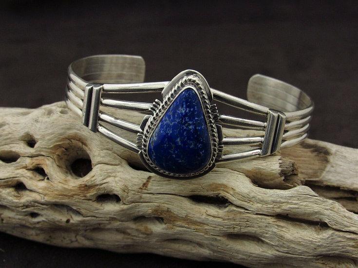Navajo Lapis Sterling Silver Cuff Bracelet by Larson L Lee