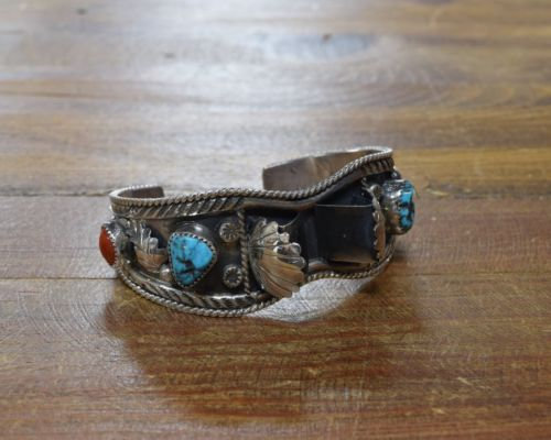 Vintage Navajo Sterling Silver Turquoise and Coral Watch Bracelet