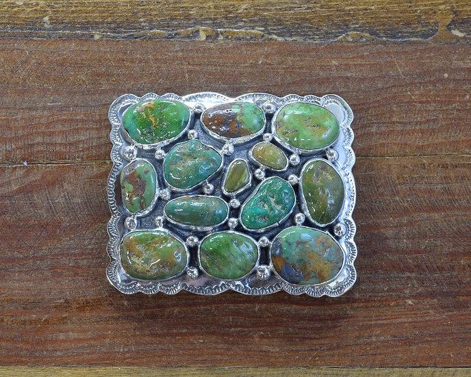Vintage Green Turquoise Sterling Silver Belt Buckle