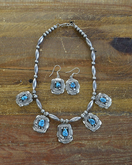 Vintage Turquoise and Sterling Silver Beaded Necklace and Earrings