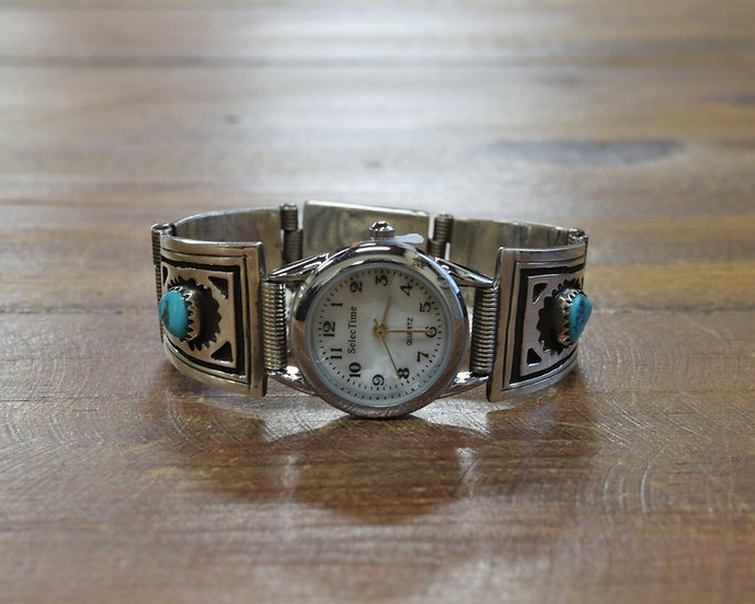 Vintage Southwestern Turquoise Sterling Silver Watch