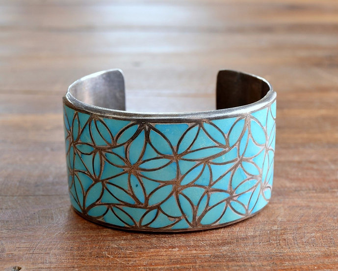 Sterling Silver Turquoise Zuni Inlay Cuff Bracelet