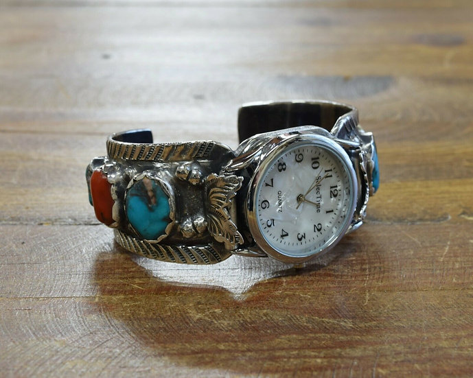 Vintage Sterling Silver Turquoise and Coral Watch Cuff Bracelet