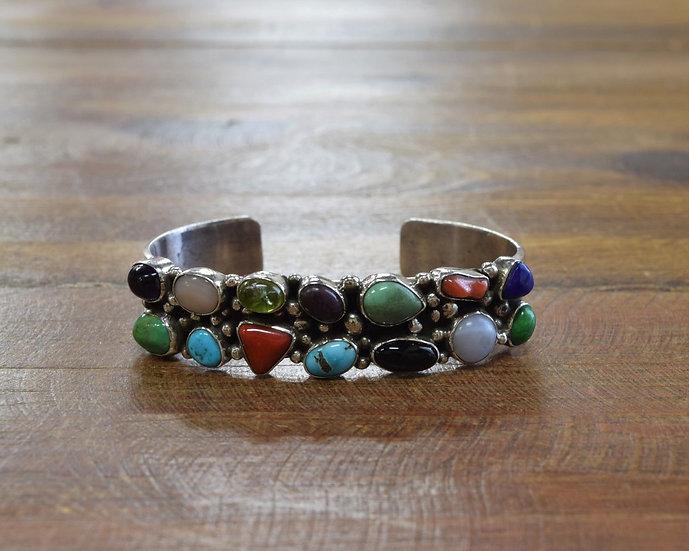 Vintage Southwestern Sterling Silver Multi-Stone Cuff Bracelet