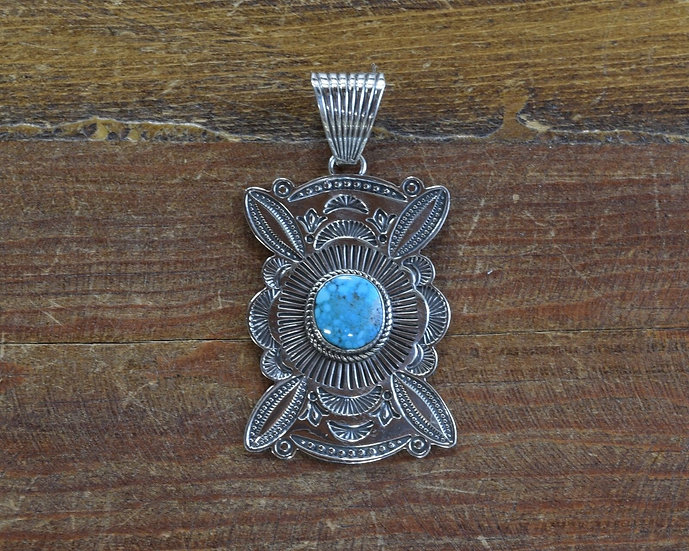 Gorgeous Sterling Silver and Turquoise Pendant by Navajo A. Jake