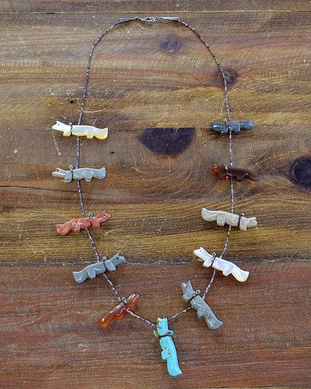 Vintage Navajo Multi-Stone Fox Fetish Necklace