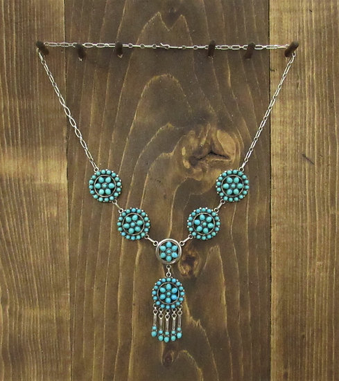 Vintage Sterling Silver and Turquoise Zuni Necklace and Earring Set by Eriacho