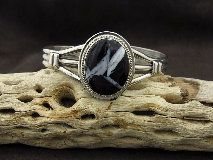 Sterling Silver Oval White Lightning Cuff Bracelet