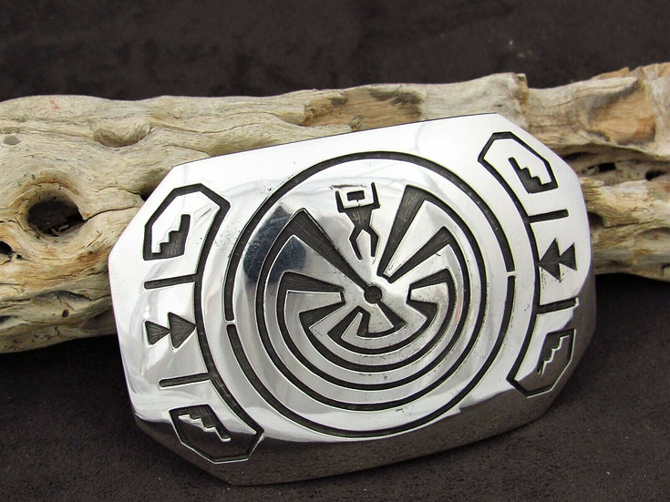 Navajo Man in the Maze Sterling Silver Overlay Belt Buckle by Sonny Gene