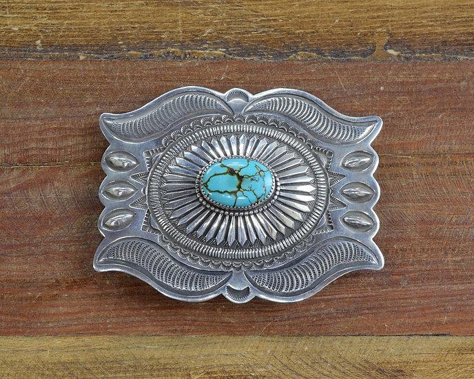 Navajo Vintage Sterling Silver Turquoise Belt Buckle
