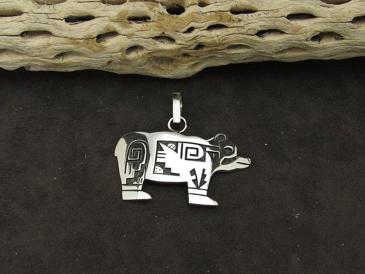 Sterling Silver Overlay Bear Pendant